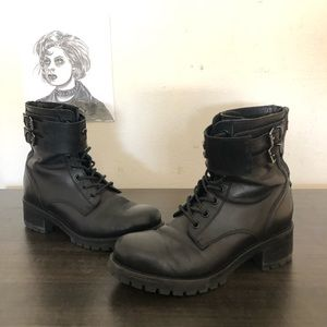 CULT sz 7 Black Leather Double Buckle Boots
